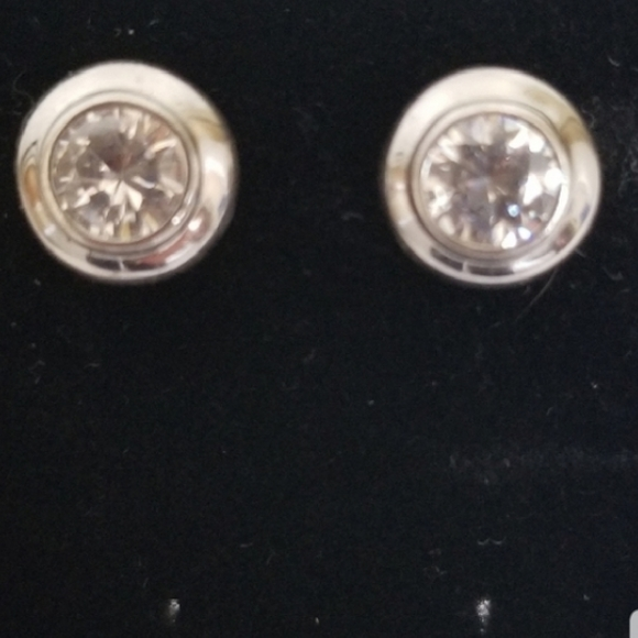 Silver 925 Rhinestone Round Stud Earrings